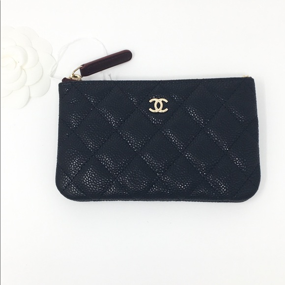 d3b9532d015a Authentic Chanel Black Caviar Mini O Case GHW